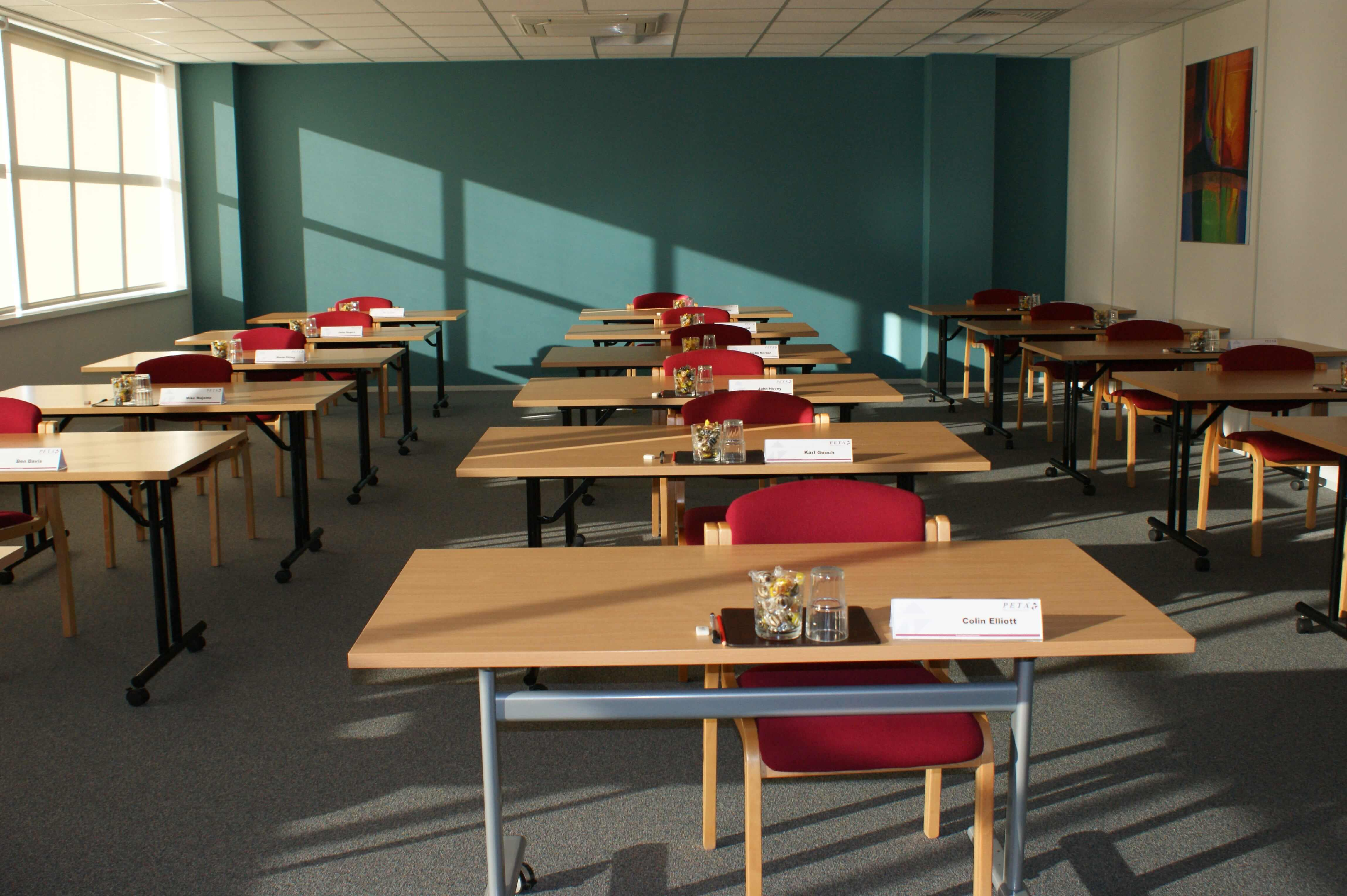 Classroom at PETA with desks